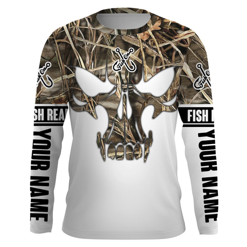 Lake Camo Fish Reaper Fish Skull Custom Long Sleeve Fishing Shirts, Fish on Clothing UV Protection UPF 30+ - IPHW714