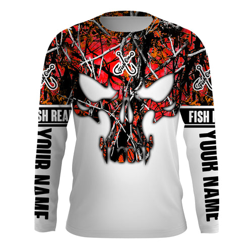 Red muddy camo Fish Reaper Fish Skull Custom Long Sleeve Fishing Shirts, Fish on Clothing UV Protection UPF 30+ - IPHW716