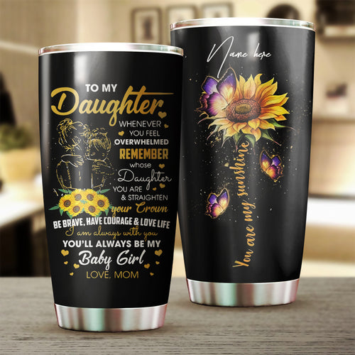 1PC To my Daughter Custom name Stainless Steel Tumbler Cup - Personalized drinking mug for Daughter from Mom - IPH2590