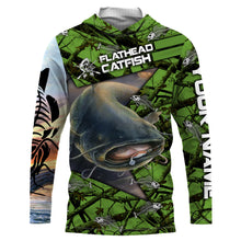 Load image into Gallery viewer, Flathead Catfish  Fishing Skeleton Fishing Skull star Camo UV protection quick dry customize name long sleeves shirts UPF 30+ personalized gift for Fishing lovers - IPH1774