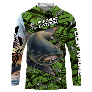 Flathead Catfish  Fishing Skeleton Fishing Skull star Camo UV protection quick dry customize name long sleeves shirts UPF 30+ personalized gift for Fishing lovers - IPH1774