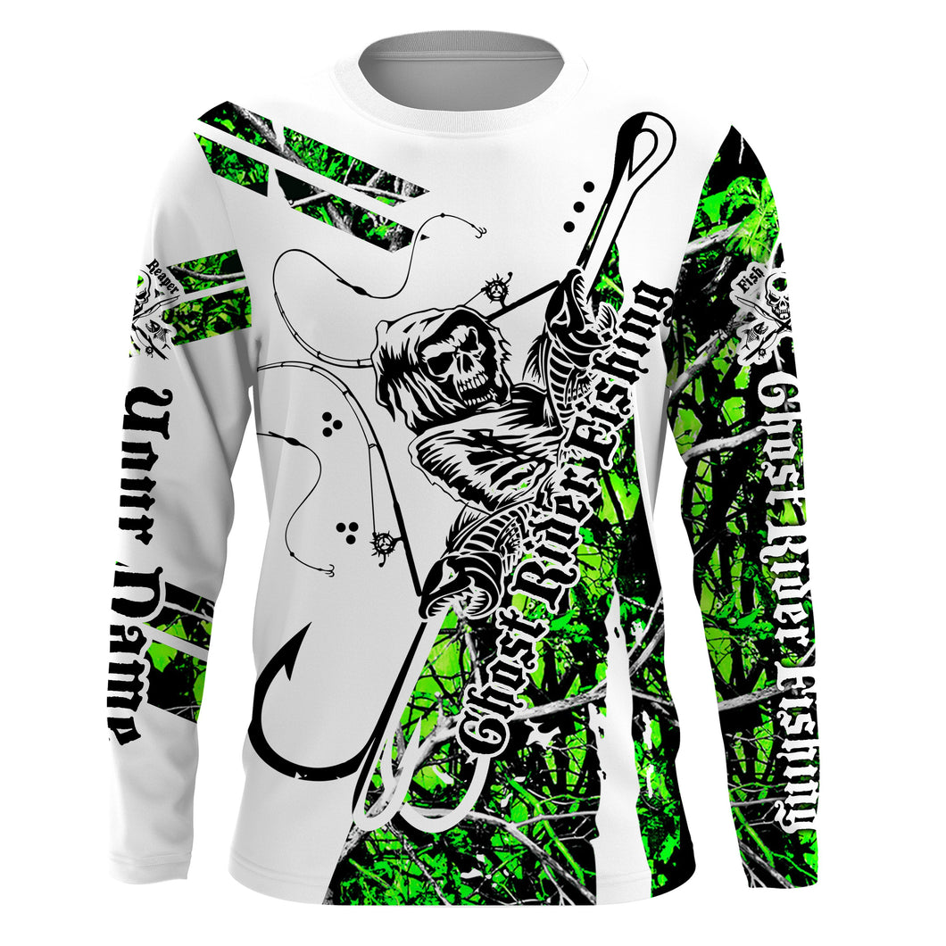 Fishing Skull UV protection quick dry customize name long sleeves shirts UPF 30+ personalized gift for Fishing lovers - IPH1767
