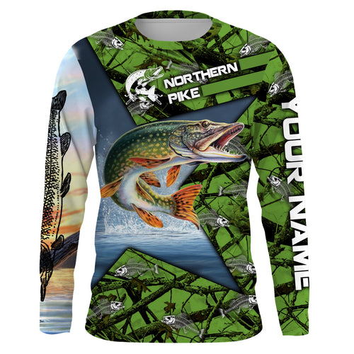 Northern Pike Fishing Skeleton Fishing Skull star Camo UV protection quick dry customize name long sleeves shirts UPF 30+ personalized gift for Fishing lovers - IPH1779