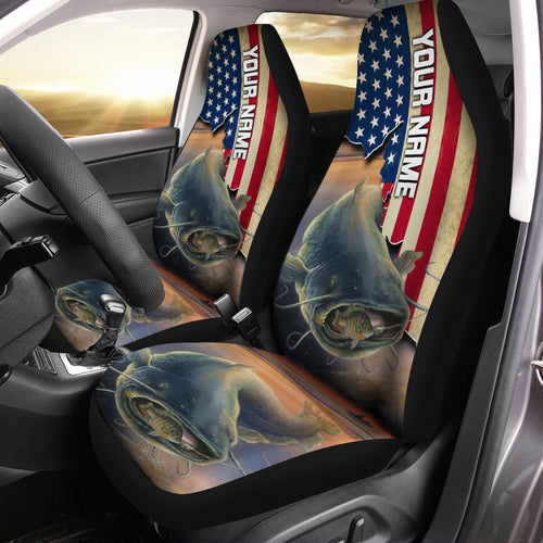 Flathead Catfish Fishing American Flag Customize 3D Printed Seat Covers, perfect car accessories - personalized gift for fishing lovers Set of 2 - IPH1707