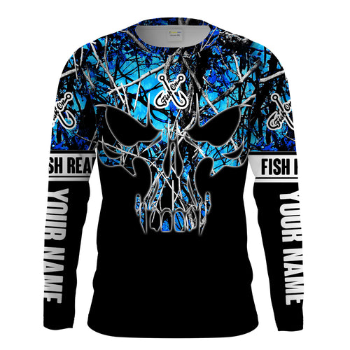 Black Fish on Fish reaper skull blue muddy camo custom Long sleeve Fishing Shirts UV Protection UPF 30+ - Chipteeamz IPHW800