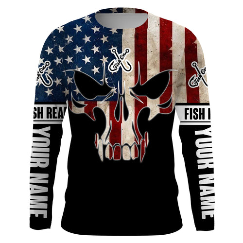 American Flag Fish reaper Custom Long sleeve Shirts UV, personalized Patriotic Fishing gifts - Chipteeamz IPHW830
