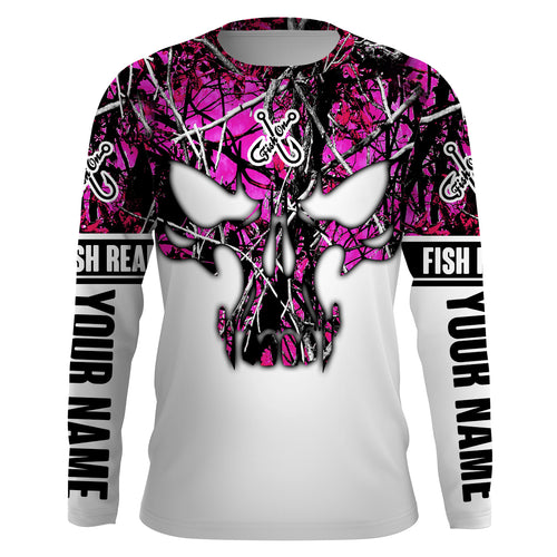 Pink purple muddy camo Fish Reaper Fish Skull Custom Women Fishing Shirts, Fishing Camo Girl Fishing Apparel Sun Protection - IPHW710