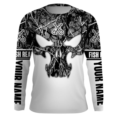 Gray muddy camo Fish Reaper Fish Skull Custom Long Sleeve Fishing Shirts, Fish on Clothing UV Protection UPF 30+ FEB21 - IPHW711