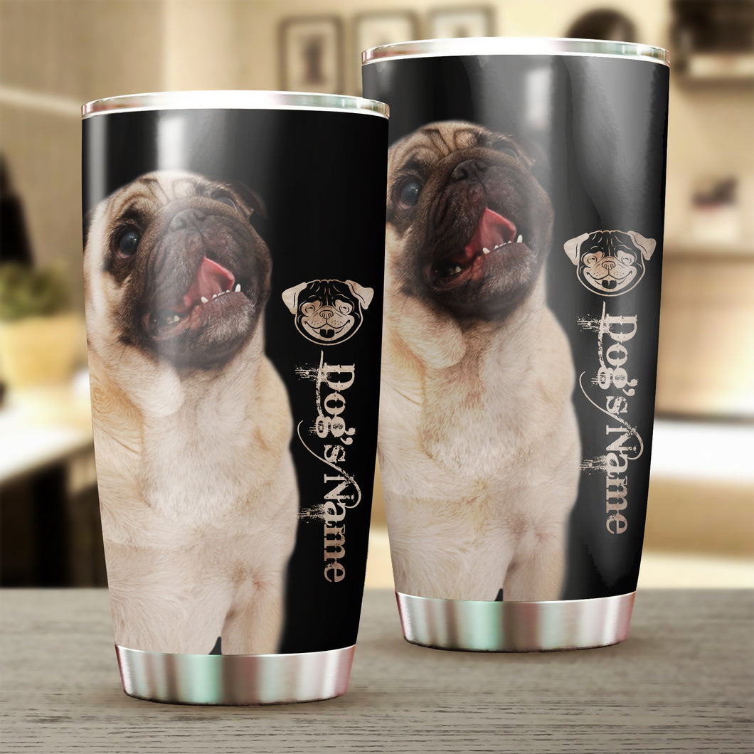 1PC Cute Pug dog Customize name Stainless steel beer, coffee Tumbler cup - Personalized drinking mug great gifts ideas - sentimental unique birthday gifts, Christmas gift for Dog mom and dad, dog lovers - IPH2026