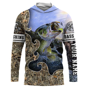 Largemouth Bass Fishing camo UV protection quick dry customize name long sleeves shirts UPF 30+ personalized fishing apparel gift for Fishing lovers - IPH1874