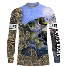 Load image into Gallery viewer, Largemouth Bass Fishing camo UV protection quick dry customize name long sleeves shirts UPF 30+ personalized fishing apparel gift for Fishing lovers - IPH1874