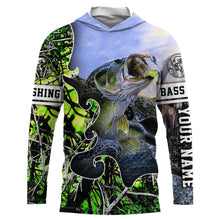Load image into Gallery viewer, Largemouth Bass Fishing green muddy  camo UV protection quick dry customize name long sleeves shirts UPF 30+ personalized fishing apparel gift for Fishing lovers - IPH1877