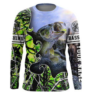Largemouth Bass Fishing green muddy  camo UV protection quick dry customize name long sleeves shirts UPF 30+ personalized fishing apparel gift for Fishing lovers - IPH1877