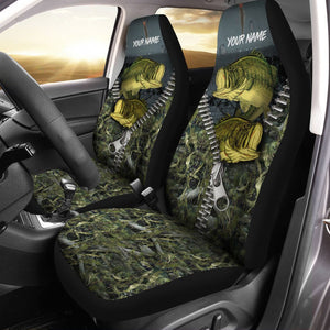 Largemouth Bass Fishing Camo Custom 3D Printed Seat Covers, perfect car accessories - personalized fishing gift for fishing lovers Set of 2 - IPH1606