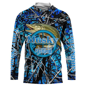 Musky (Muskie) Fishing blue muddy camo UV protection quick dry customize name long sleeves shirts UPF 30+ personalized fishing apparel gift for Fishing lovers - IPH1944