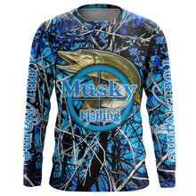 Load image into Gallery viewer, Musky (Muskie) Fishing blue muddy camo UV protection quick dry customize name long sleeves shirts UPF 30+ personalized fishing apparel gift for Fishing lovers - IPH1944