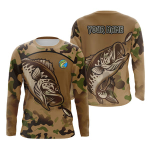 Bass Fishing Camo Custom name Fishing jersey Sun shirts UPF 30+ for men, women and kids - IPH1797