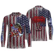 Load image into Gallery viewer, Walleye Fishing American Flag Hooked on Freedom Sun / UV protection quick dry customize name long sleeves shirts UPF 30+ personalized Patriotic fishing apparel gift for Fishing lovers - IPH1965