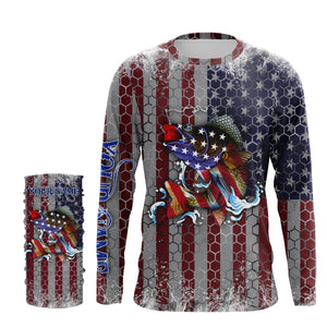 Walleye Fishing American Flag Hooked on Freedom Sun / UV protection quick dry customize name long sleeves shirts UPF 30+ personalized Patriotic fishing apparel gift for Fishing lovers - IPH1965