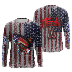 US Rainbow Trout (Steelhead) Fly Fishing American Flag Hooked on Freedom Sun / UV protection quick dry customize name long sleeves shirts UPF 30+ personalized Patriotic fishing apparel gift for Fishing lovers - IPH1966