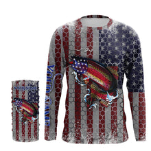 Load image into Gallery viewer, US Rainbow Trout (Steelhead) Fly Fishing American Flag Hooked on Freedom Sun / UV protection quick dry customize name long sleeves shirts UPF 30+ personalized Patriotic fishing apparel gift for Fishing lovers - IPH1966