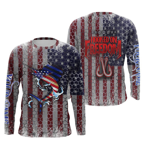 Sailfish Fishing American Flag Hooked on Freedom Sun / UV protection quick dry customize name long sleeves shirts UPF 30+ personalized Patriotic fishing apparel gift for Fishing lovers - IPH1968
