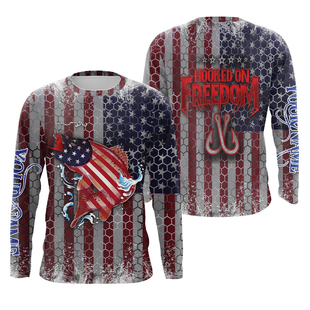 Speckled Trout Fishing American Flag Hooked on Freedom Sun / UV protection quick dry customize name long sleeves shirts UPF 30+ personalized Patriotic fishing apparel gift for Fishing lovers - IPH1970