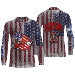 Muskie Fishing American Flag UV Long sleeve Fishing Shirts, custom Musky shirts Hooked on freedom - Chipteeamz IPH1983