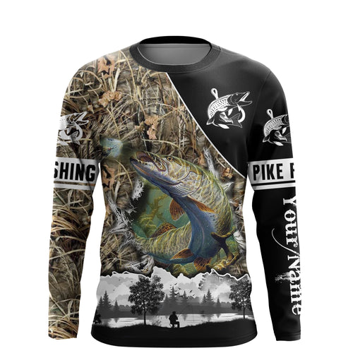 Northern Pike Fishing camo UV protection quick dry customize name long sleeves shirts UPF 30+ personalized fishing apparel gift for Fishing lovers - IPH1859