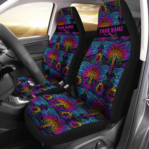 Colorful mandala paisley Dragonfly Custom Car Seat covers, personalized Women Car Accessories gifts - Chipteeamz IPHW1017