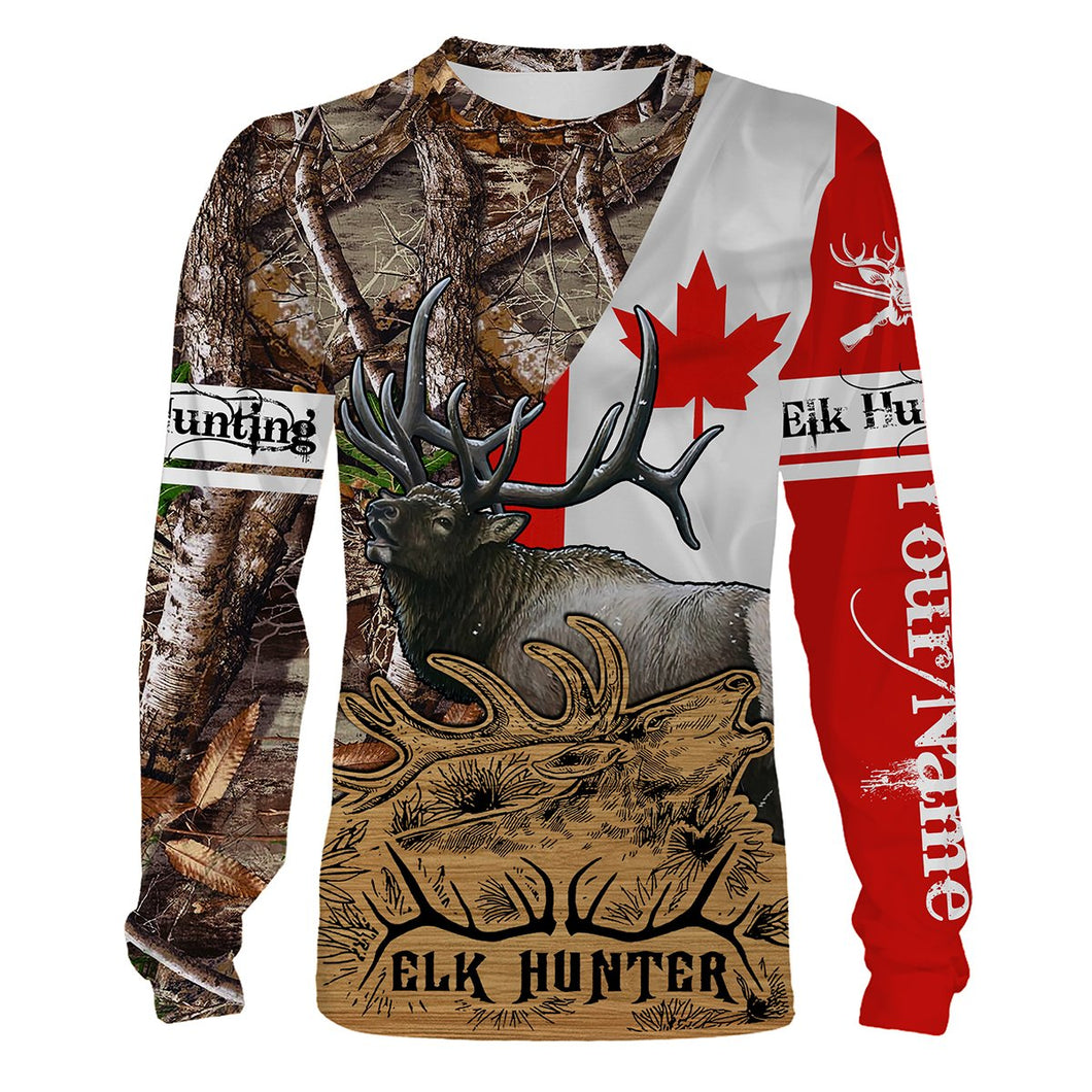 Canada Elk Hunting Customize Name 3D All Over Printed Shirts Personalized Hunting Gift  For Adult And Kid- NQS548