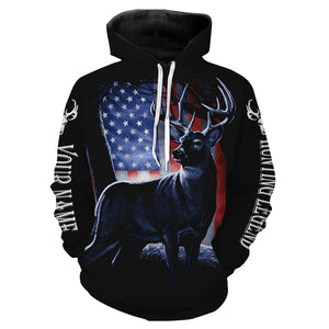Deer Hunting Legend  American Flag Patiotic Customize Name 3D All Over Printed Shirts Personalized gift For Hunting Lovers NQS698