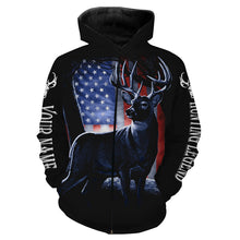 Load image into Gallery viewer, Deer Hunting Legend  American Flag Patiotic Customize Name 3D All Over Printed Shirts Personalized gift For Hunting Lovers NQS698