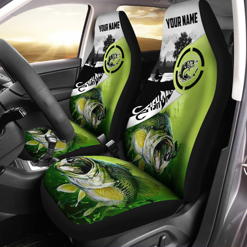 Largemouth Bass Fishing Fish On green camo 3D Printed Seat Covers, perfect car accessories - Personalized fishing gift for fisherman - NQSD173