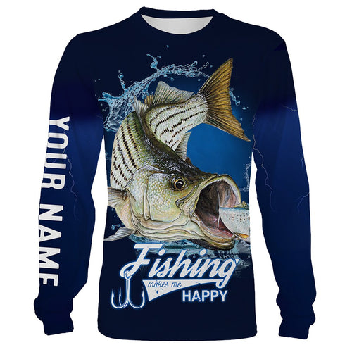 Fishing Makes Me Happy Striped Bass Fishing 3D All Over printed Customized Name Shirts For Adult And Kid NQS299