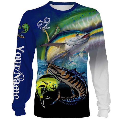 Mahi-mahi, Wahoo, Tuna Customize Name All Over Printed Shirts For Men And Women Personalized Fishing Gift NQS233