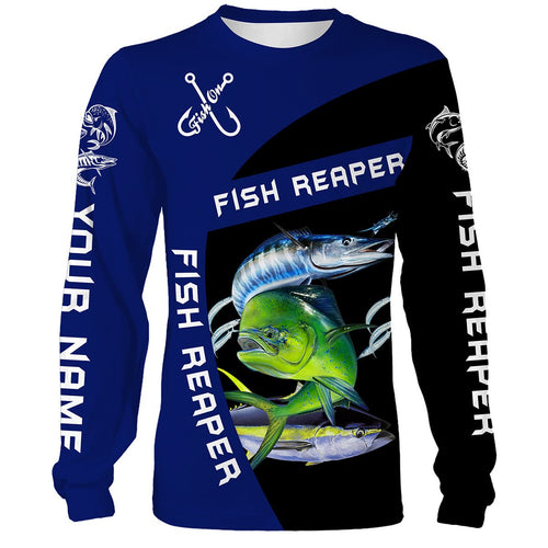 Customize Name Mahi Mahi, Tuna, Wahoo Fishing Fish Reaper 3D All Over Printed Shirts Personalized Gift For Fisherman NQS409
