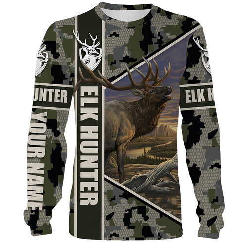 Elk Hunting Camo Hunter Legend Custome Name 3D All Over Printed Shirts Personalized Gift For Hunter NQS422