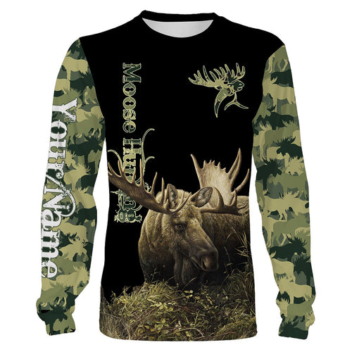 Moose Hunting Green Camo 3D All Over print shirts personalized hunting apparel for Adult and kid NQS534