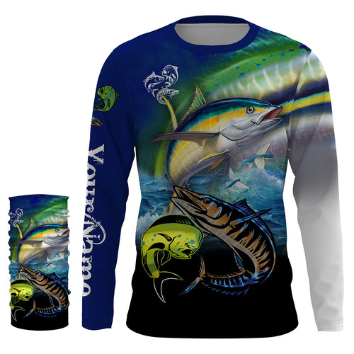 Mahi Mahi ( Dorado), Wahoo, Tuna fishing UV protection quick dry Customize name long sleeves UPF 30+ personalized gift for fisherman- NQS824