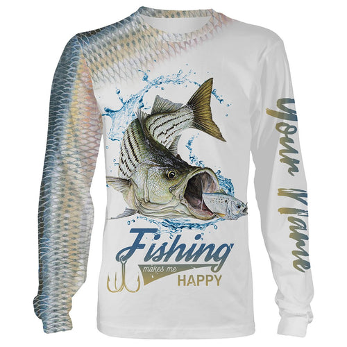 Striped bass Fishing Custome Name 3D All Over Printed Shirts Personalized Fishing gift For Adult And Kid NQS343