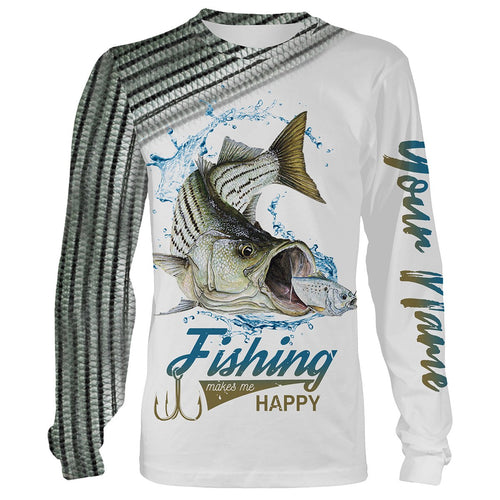Striped Bass ( Striper) Fishing Customize Name 3D All Over Printed Shirts Personalized Fishing Gift For Father, Men, Women And Kid NQS349
