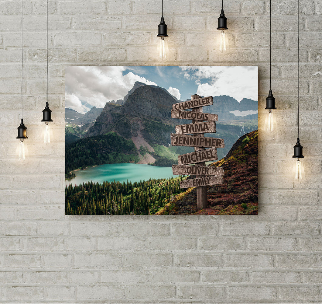 Custom landscape canvas prints with family member name - personalized canvas wall art for your family - NQS1010