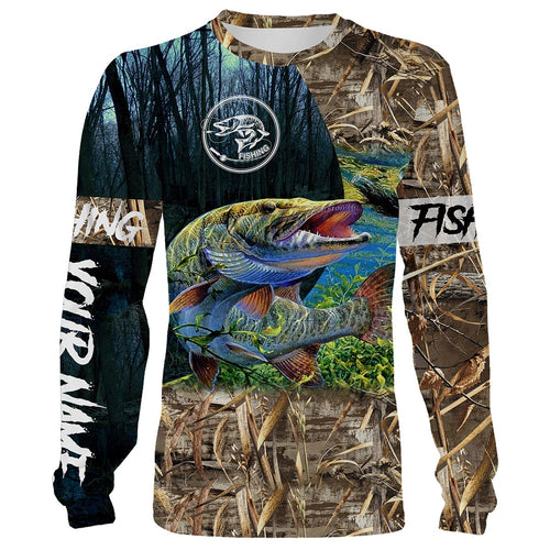 Musky Fishing Customize Name 3D All Over Printed Camo Shirts For Adult And Kid Personalized Fishing Gift NQS292