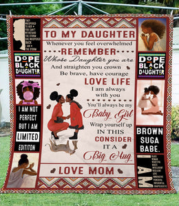 Letter To my Daughter black girl magic soft throw fleece blanket - sentimental unique birthday, Christmas gift ideas for daughter from Mom D02 NQS1238