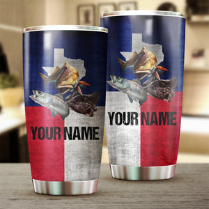 Texas Slam Texas Flag Customize Name Tumbler Cup  Personalized Fishing Gift For Fisherman NQS370