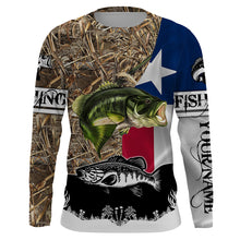 Load image into Gallery viewer, TX bass fishing camo fishing shirts for men fishing in texas Performance Long Sleeve UV protection quick dry Customize name UPF 30+ - personalized fishing shirt for men and women and Kid - NQS1023
