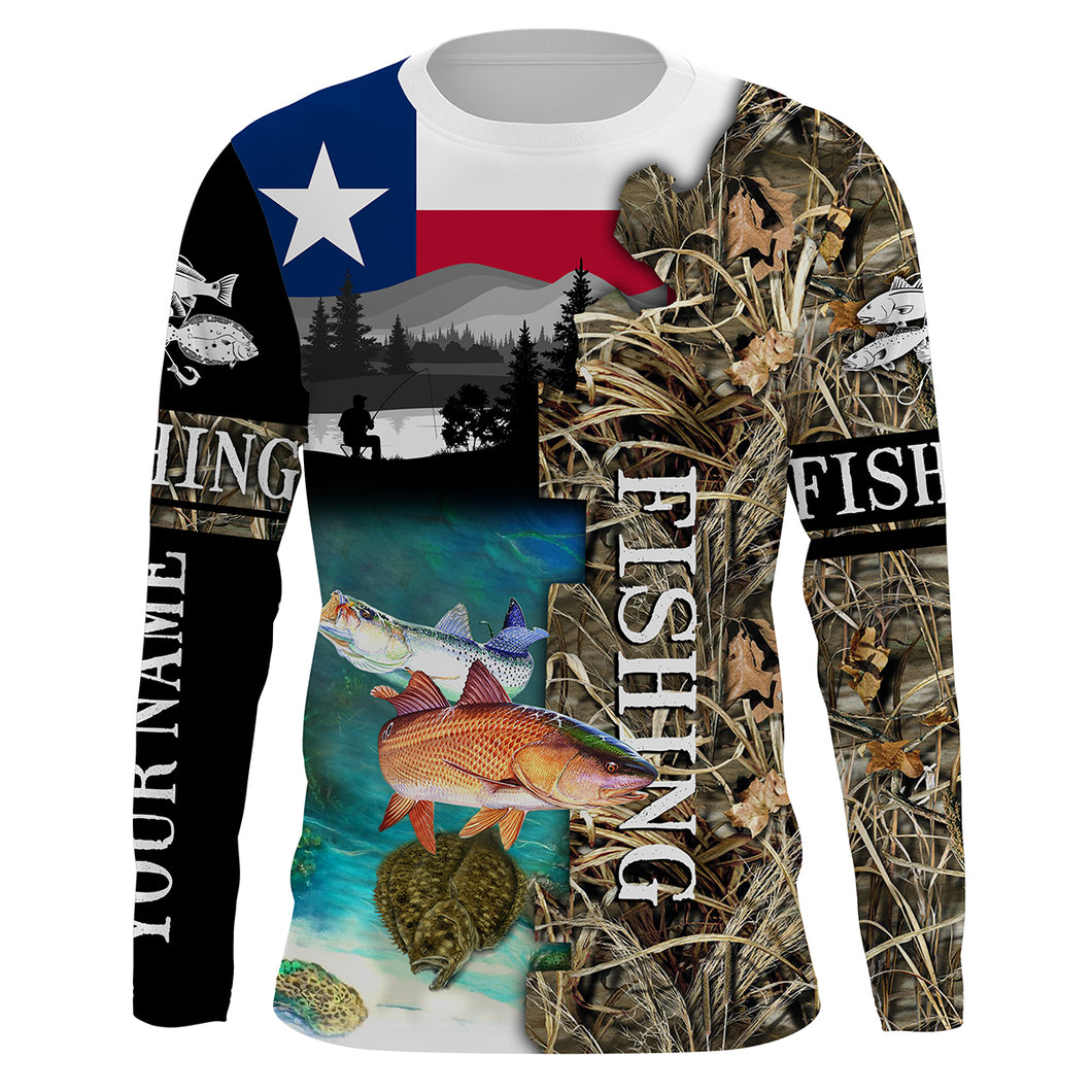 TX Texas slam fishing camo shirts for men fishing in texas Performance Long Sleeve UV protection quick dry Customize name UPF 30+ shirt for men and women and Kid - NQS1027
