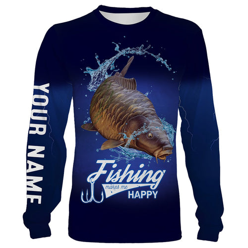 Fishing Makes Me Happy Carp Fishing 3D All Over printed Customized Name Shirts For Adult And Kid NQS316