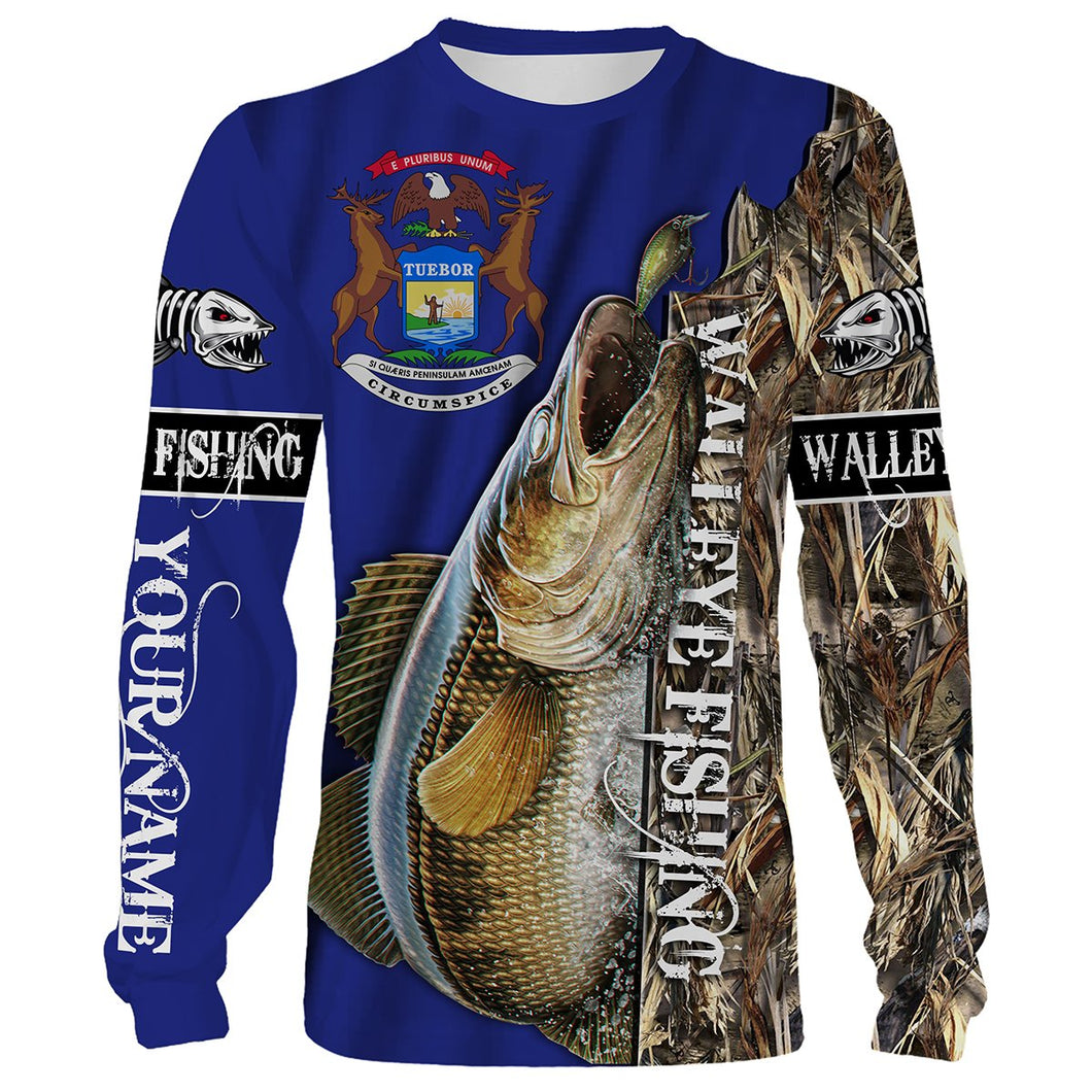 Walleye fishing Michigan Flag Customized name 3D All Over print shirts personalized fishing apparel for Adult and kid NQS515